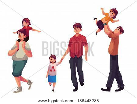Father and daughter, set of cartoon vector illustrations isolated on white background. Dad carrying little daughter on shoulders, throwing her into air and walking together holding hands, happy family