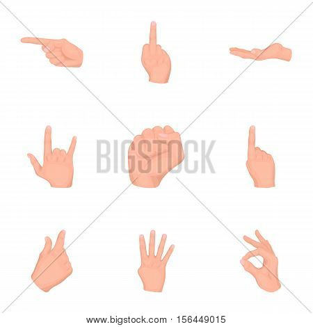 Hand gestures set icons in cartoon style. Big collection of hand gestures vector symbol stock