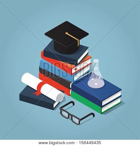 Vector Isometric college / university education concept illustration. Stack of book with a graduating hat glasses diploma and test-tube.