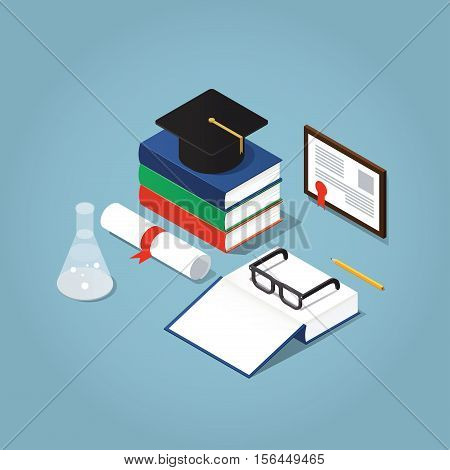 Vector Isometric college / school education concept illustration. Stack of book with a gratuation hat open book glasses framed diploma and test-tube.