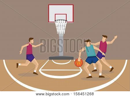 Cartoon vector illustration of a group of 3 basketball players in action at basketball court.