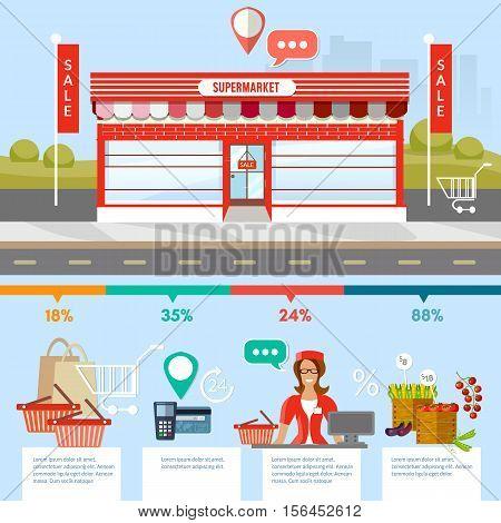 Supermarket building on roadside infographic elements supermarket store counter desk equipment and clerk in uniform cash table vector illustration