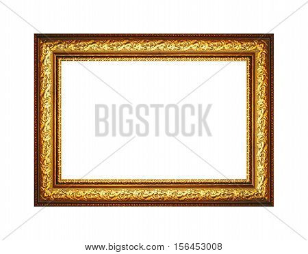 gilded wood frame for pictures of isolated on white background.