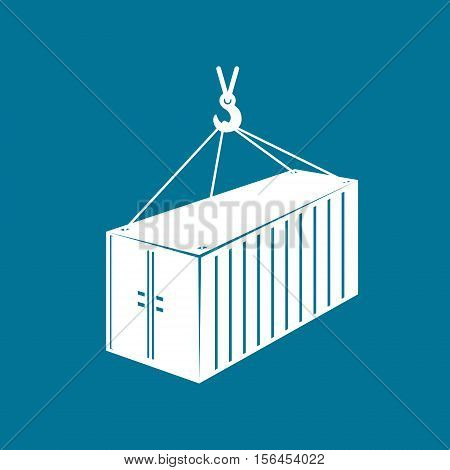 Container with Crane Isolated on Blue Background, Cargo Container Hanging on Crane Hook, Vector Illustration