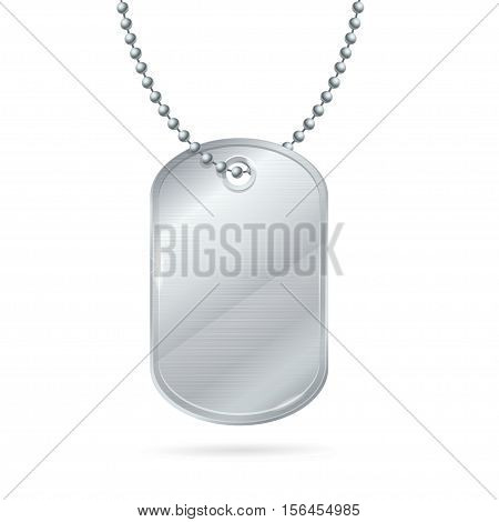 Military ID Tag Silver Army Medallion. Vector illustration