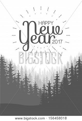 Happy New Year Flyer. Wild coniferous forest background. Pine tree landscape nature wood natural panorama. Vector illustration