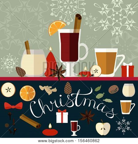 Vector illustration of decorative Christmas composition with traditional beverages spices and candles.