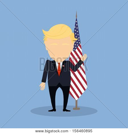 Russia November. 08, 2016 Donald Trump with american flag. New american president is Donald Trump.