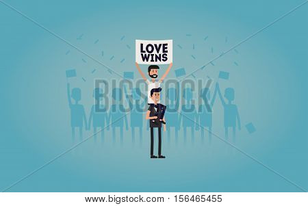 Gay parade. People with placards. Sexual revolution or free love. Holiday celebration festivity vector illustration. Love wins.