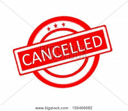 Illustration of cancelled word on red rubber stamp