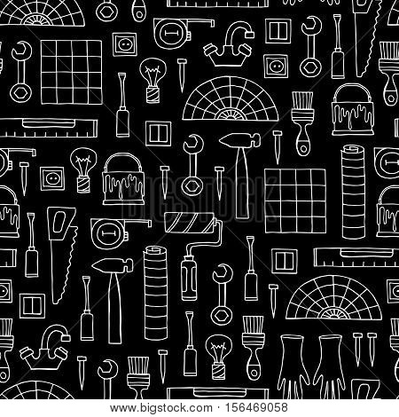 Vector seamless pattern with hand drawn isolated tools for repair on black color. Symbols of repair. Background for use in design, packing, web site, fabric