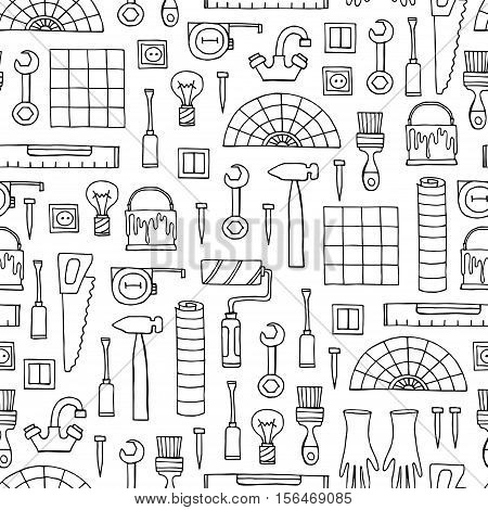 Vector seamless pattern with hand drawn isolated tools for repair on white color. Symbols of repair. Background for use in design, packing, web site, fabric