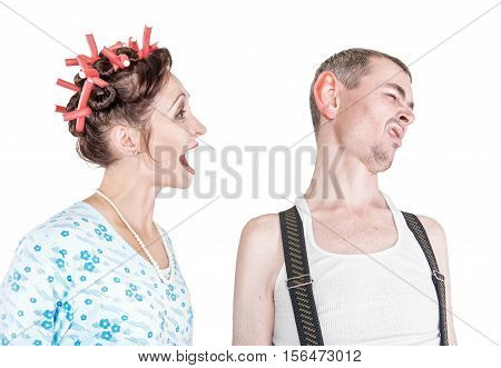 Funny Woman Screaming At Her Husband With Big Ear