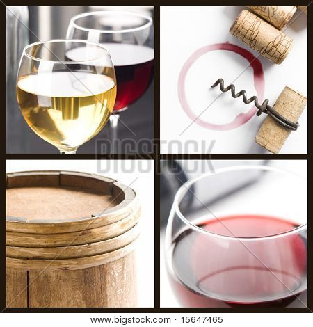 Four fields collage; Glasses of white and red wine, corks, corkscrew, barrel.
