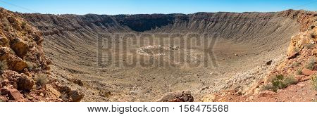 Panoramic view of Meteor Crater in Coconino County Arizona USA