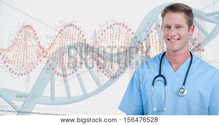 Portrait of handsome surgeon smiling against panoramic view of red dna pattern on screen