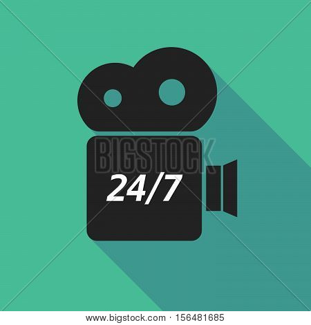 Long Shadow Camera Icon With    The Text 24/7