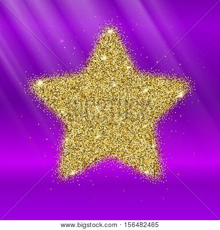 Icon of Five-pointed star with gold sparkles and glitter, glow light, bright sequins, sparkle tinsel, shimmer dust. Five-pointed star sign isolated on pink background