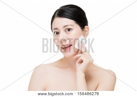 Beautiful Asian Woman Remove Makeup From Face With Cotton Swab