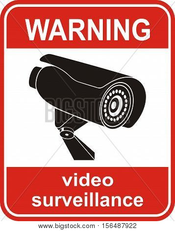 Video surveillance sign or icon. CCTV Camera.