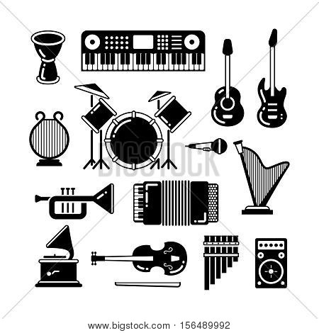 Classic music instruments, silhouettes vector icons. Instrument classical black white style. Illustration of guitar, piano and drum