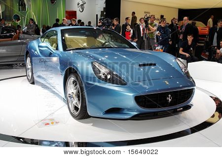 PARIS, FRANCE - OCTOBER 02: Paris Motor Show  on October 02, 2008, showing Ferrari California, front view.