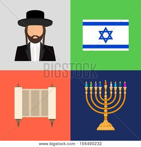 Jewish and judaism symbols. Hope prayer and flag, candles and torah vector signs