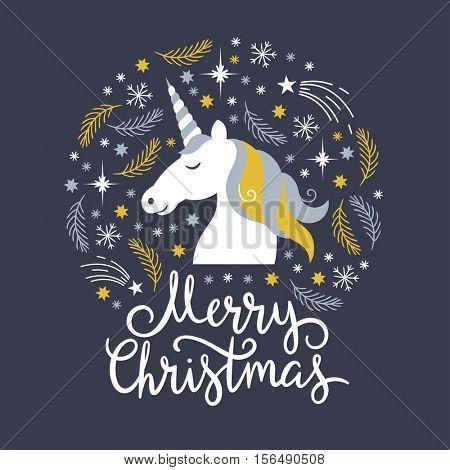 Christmas illustration, merry christmas, unicorn