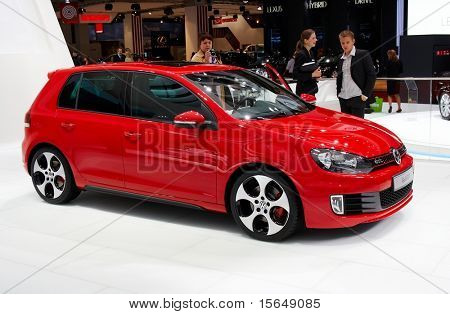 PARIS, FRANCE - OCTOBER 02: Paris Motor Show on October 02, 2008, showing Volkswagen Golf GTI, front/side view