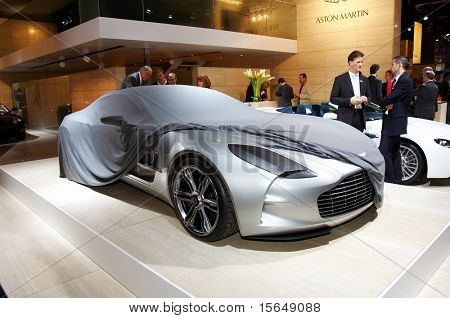 PARIS, FRANCE - OCTOBER 02: Paris Motor Show on October 02, 2008, showing Aston Martin 177, front view