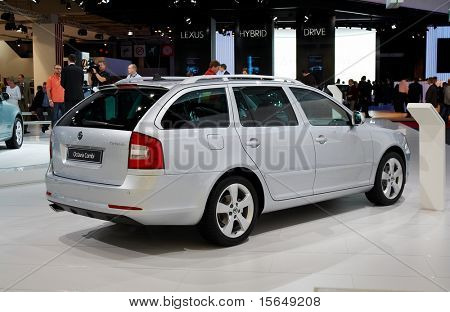 PARIS, FRANCE - OCTOBER 02: Paris Motor Show on October 02, 2008, showing Skoda Octavia Combi, rear view