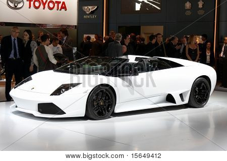 PARIS, FRANCE - OCTOBER 02: Paris Motor Show on October 02, 2008, showing Lamborghini Murcielago Roadster, front view