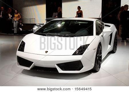 PARIS, FRANCE - OCTOBER 02: Paris Motor Show on October 02, 2008, showing Lamborghini Gallardo LP560/4, front view