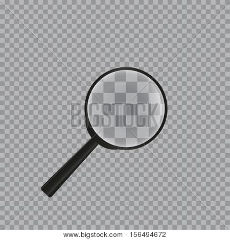 Realistic magnifying glass isolated on checkered background .Magnifying glass object for zoom and tool with lens for magnifying. Vector illustration.