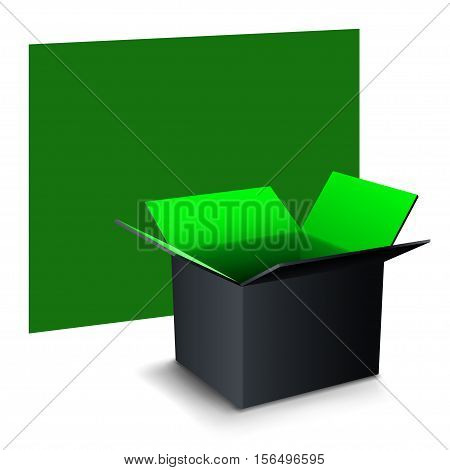 illustration of green banner with paper two color box with shadow on white background