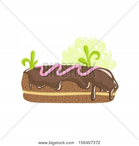 Classic Chocolate Eclair Sweet Pastry Fantasy Candy Land Sweet Landscape Element. Illustrations From Girly Magic Sweet Land Design Set For Video Game Landscaping.