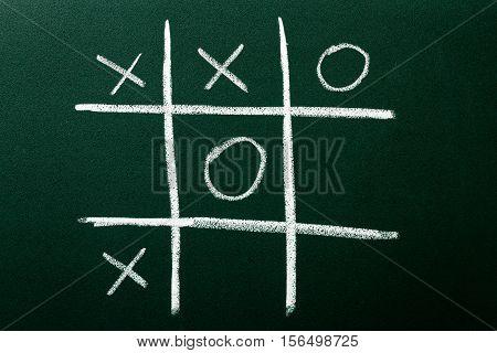 Tic Tac Toe game on green blackboard