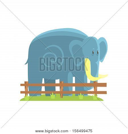 Simplified Blue Elephant Standing On Green Grass Patch In Open Air Zoo Enclosure. Wild Animal Enclosed In Outdoor Zoological Park Funky Style Illustration On White Background.