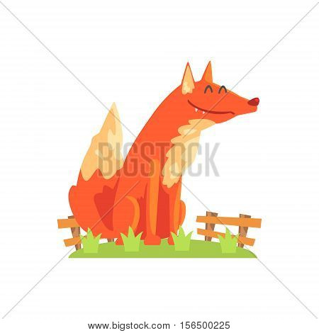 Common Red Fox With Fluffy Coat Standing On Green Grass Patch In Open Air Zoo Enclosure. Wild Animal Enclosed In Outdoor Zoological Park Funky Style Illustration On White Background.