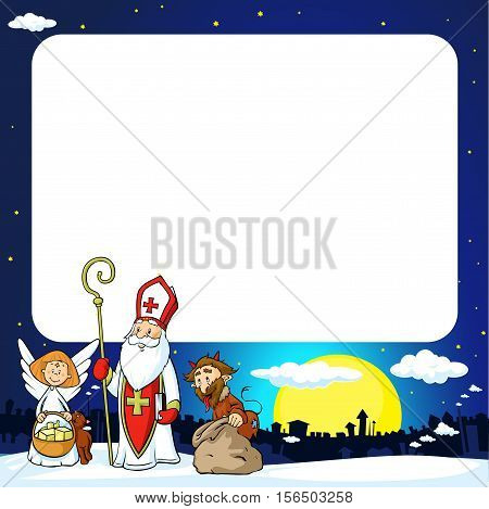 Saint Nicholas devil and angel in town - vector illustration frame .During the Christmas season they are warning and punishing bad children and give gifts to good children.