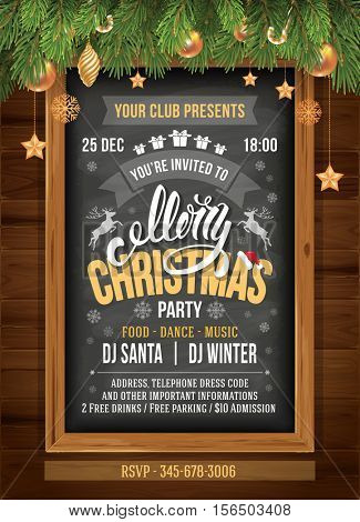 Christmas party design template. Vector stock illustration. Text on chalkboard. Elements are layered separately in vector file.