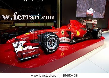 PARIS, FRANCE - SEPTEMBER 30: Paris Motor Show on September 30, 2010, showing Fernando Alonso?s Formula 1 Scuderia-Ferrari racing team car, front view