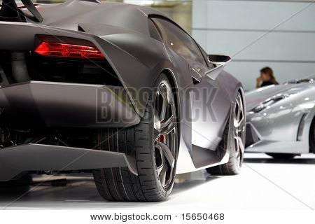 PARIS, FRANCE ? SEPTEMBER 30: Paris Motor Show on September 30, 2010, showing Lamborghini Sesto Elemento Concept, rear detail view