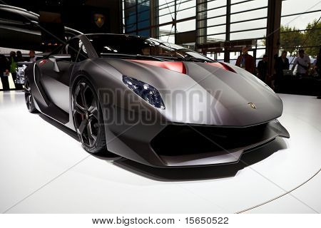 PARIS, FRANCE ? SEPTEMBER 30: Paris Motor Show on September 30, 2010 in Paris, showing Lamborghini Sesto Elemento Concept, front view