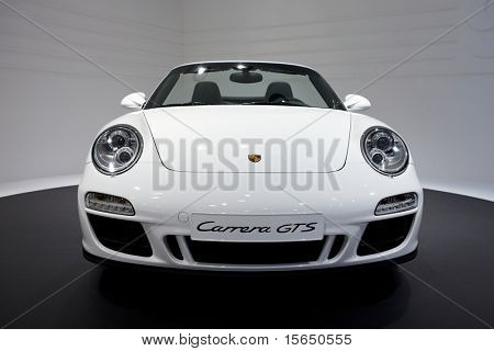 PARIS, FRANCE - SEPTEMBER 30: Paris Motor Show on September 30, 2010 in Paris, showing Porsche 911 Carrera GTS Cabriololet, front view