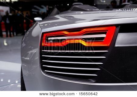 PARIS, FRANCE - SEPTEMBER 30: Paris Motor Show on September 30, 2010, Audi e-tron Spyder, rear light detail
