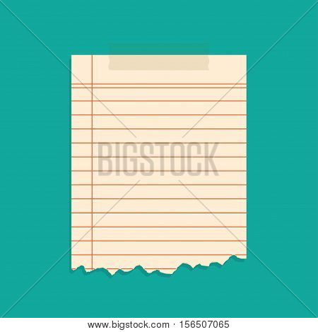 Ripped pieces of paper taped with adhesive tapes, on white background