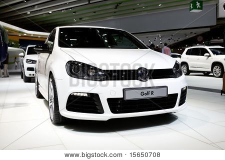 PARIS, FRANCE - SEPTEMBER 30: Paris Motor Show on September 30, 2010 in Paris, showing Volkswagen Golf R, front view