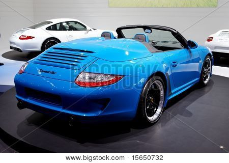 PARIS, FRANCE - SEPTEMBER 30: Paris Motor Show on September 30, 2010 in Paris, showing Porsche 911 Speedster, rear view