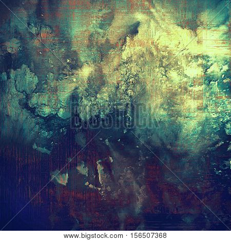 Sharp textured background, aged vintage backdrop with grungy style elements and different color patterns: yellow (beige); brown; blue; purple (violet); cyan